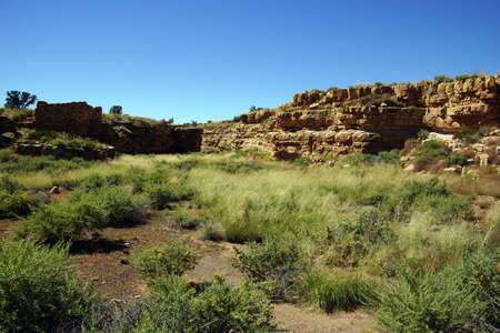 Ruins of houses of the  Lomaki Pueblo, Wupatki National Monument, Arizona