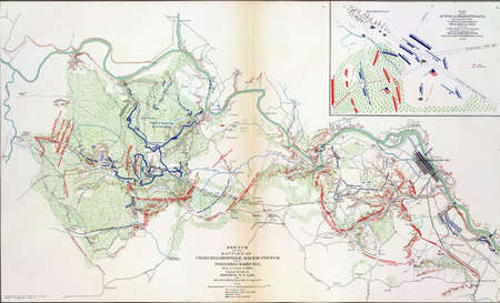 reb: Map of battles of Chancellorsville and Fredericksburg, 1863,  from Atlas to Accompany the Official Records of the Union & Confederate Armies, 1861 - 1865