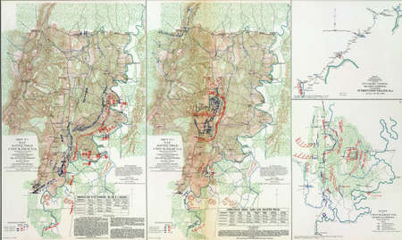 reb: Map of battle of Chickamaugua, Tennessee, 1863,  from Atlas to Accompany the Official Records of the Union & Confederate Armies, 1861 - 1865