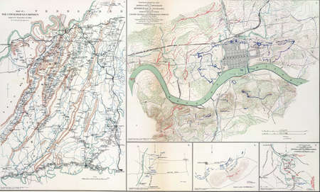 reb: Map of battles of Chickamaugua and Knoxville, Tennessee, 1863,  from Atlas to Accompany the Official Records of the Union & Confederate Armies, 1861 - 1865