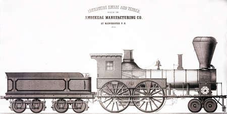 19th century: Freight engine  from a 19th century engraving