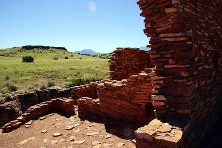anasazi ruins: Ruins of houses of the  Lomaki Pueblo, Wupatki National Monument, Arizona