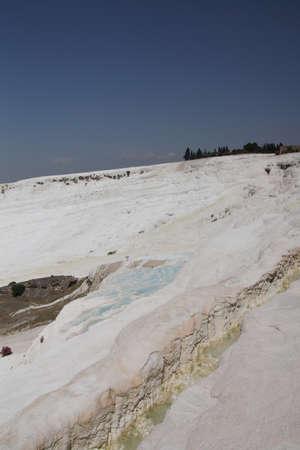 Calcium deposits  on travertine terraces at  Pamukkale,  Turkey   Stock fotó