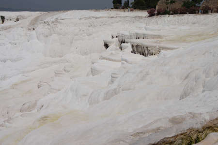 Calcium deposits  on travertine terraces at  Pamukkale,  Turkey   Stock fotó