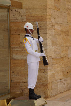 ataturk: May 21, 2014 - Sailor in white at the changing of the guard ceremony for the  Ataturk Mausoleum,  Ankara, Turkey