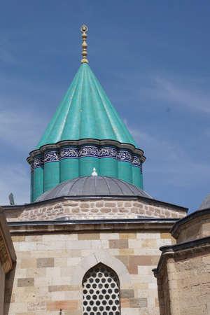 Turquoise tiles of rooftop of Mevlana shrine,  Konya, Turkey   Фото со стока