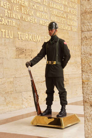ataturk: May 21, 2014 - Soldier at the changing of the guard ceremony for the  Ataturk Mausoleum,  Ankara, Turkey