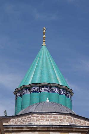 Turquoise tiles of rooftop of Mevlana shrine,  Konya, Turkey