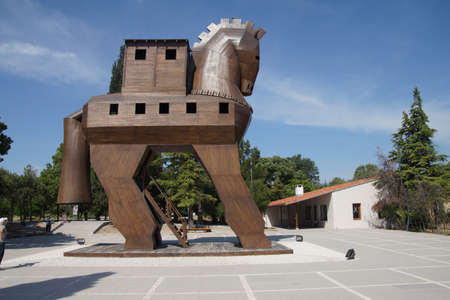 Trojan Horse replica on the site of ancient  Troy. Turkey  Archivio Fotografico