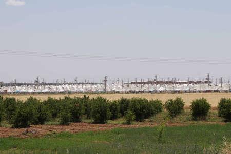 Syryjski: Akçakale Syryjska obóz dla uchodźców w pobliżu granicy z Syrią, w południowo-wschodniej Turcji, czerwiec 2014