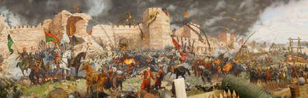 최종 공격과 1453 년 콘스탄티노플의 몰락. Mehmet에 의해 점령되었습니다. Diorama in Askeri Museum, 이스탄불, 터키 스톡 콘텐츠 - 29326586