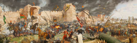 Laatste aanval en de val van Constantinopel in 1453. Gevangen door Mehmet. Diorama in Askeri Museum, Istanbul, Turkije