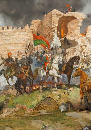 最後の攻撃、1453 年のコンスタンティノープル陥落。メフメットによって捕獲されました。イスタンブール、トルコ軍楽隊博物館のジオラマ   報道画像