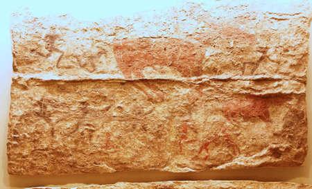 Hunting scenes from neolithic paintings of Catalhoyuk,  6500 BCE,   Museum of Anatolian Civilization,  Ankara, Turkey   Stock Photo