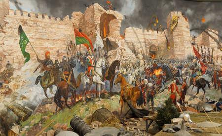 최종 폭행 메 흐멧에 의해 캡처 된 1453 콘스탄티노플의가. Askeri 박물관, 이스탄불, 터키 디오라마 에디토리얼