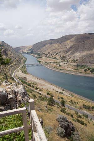 ataturk:  Ataturk dam on Euphrates River in southeastern  Turkey Stock Photo