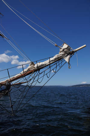 bowsprit: Bowsprit and forward section of tall ship  near Kirkland, Washington   Stock Photo