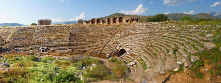Panorama, chariot racing stadium ( hippodrome ), best preserved example of Roman architecture,  Aphrodisias,  Turkey