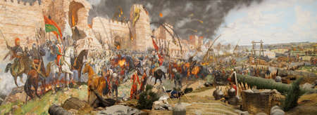 the turks: Final assault and the fall of Constantinople in 1453. Captured by Mehmet. Diorama in Askeri Museum, Istanbul,  Turkey