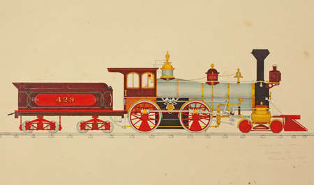 wheeled: Eight wheeled locomotive  from a 19th century engraving..