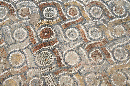 mosaic: Detail of geometric mosaic walk in front of small shops  from ancient Greek and Roman city of  Ephesus,  Turkey   Stock Photo