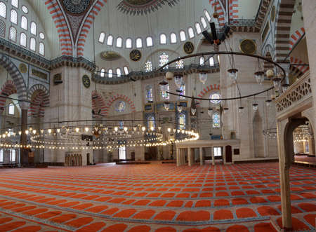 Interior of prayer space of the Suleymanie Mosque,  in Istanbul, Turkey   Editorial