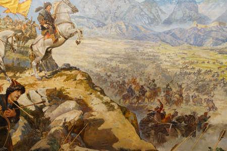 Hunnen aanval op de Grote Muur van China, Askeri Museum, Istanbul, Turkije Redactioneel