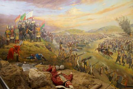 Battaglia di Mohács, 1526, la vittoria ottomana sull'Ungheria, guidato da Solimano il Magnifico, Askeri Museo Militare di Istanbul, Turchia Archivio Fotografico - 29556825