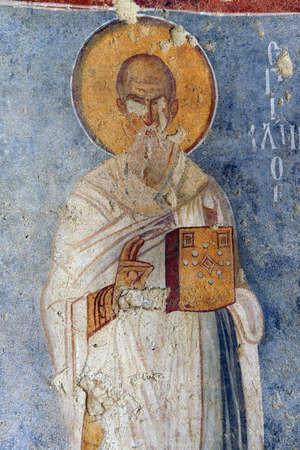 fresco: Fresco of Saint Nicholas in his basilica church, Demre, Turkey