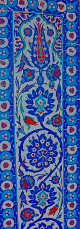 Detail of the blue mosaics decorating the    Rustem Pasha Mosque,  in Istanbul, Turkey