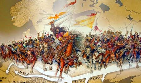 Atilla en de Hunnen opladen over de steppen, Askeri Militair Museum in Istanbul, Turkije Redactioneel