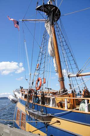 ketch: Detail of bulwarks and mast of tall ship  near Kirkland, Washington