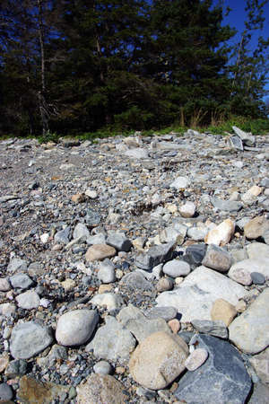 granite park: Granite pebbles form the beach  at the Seawall  Maine,Mount Desert Island, Acadia National Park   Stock Photo