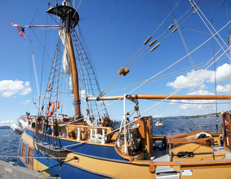 Detail of bulwarks and mast of tall ship  near Kirkland, Washington