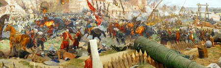 constantinople: Panorama of the Final assault and the fall of Constantinople , captured  by Mehmet in 1453  Askeri Museum, Istanbul,  Turkey