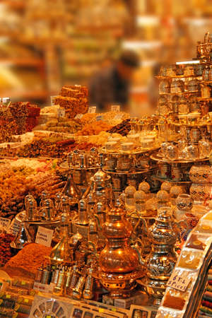 Tea and coffee sets, spices and Turkish desserts  in the Egyptian (Spice ) Market in Istanbul, Turkey   photo