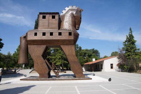 Trojan Horse replica op de site van het oude Troje. Turkije Stockfoto