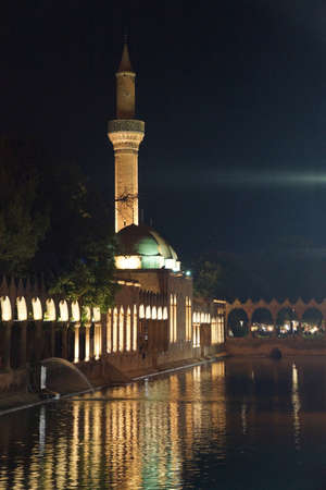 cami: Reflections of Halil Rahman Cami on Birket Ibrahim ( the pool of Abraham) at night  in Sanliurfa,  Turkey