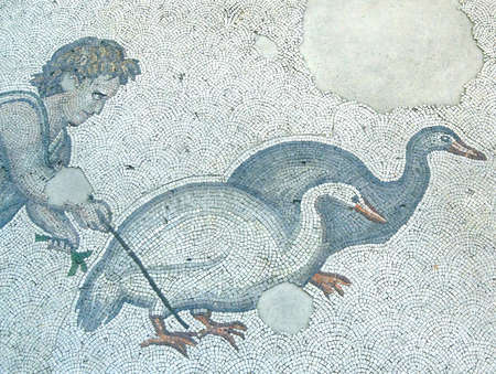 mosaic: Boy herding geese,  mosaic scene, Great Palace,  in Istanbul, Turkey