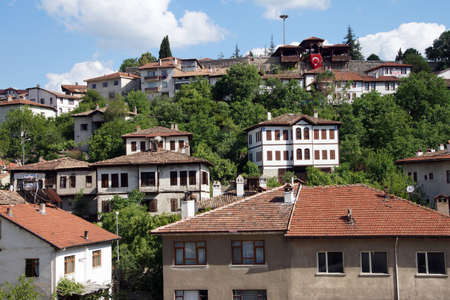 country house style: Old style Turkish konak country houses on a tree covered hillside  in  Safranbolu, Turkey