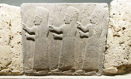 orthostat: Procession of three  nuns of the goddess Kubaba from Kargama about 800 BCE, m Museum of Anatolian Civilization,  Ankara, Turkey