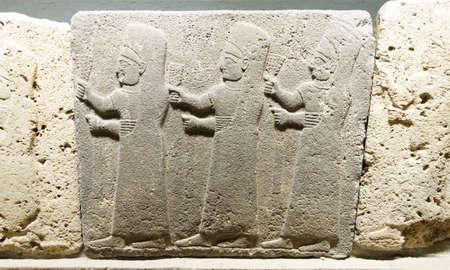 nuns: Procession of three  nuns of the goddess Kubaba from Kargama about 800 BCE, m Museum of Anatolian Civilization,  Ankara, Turkey