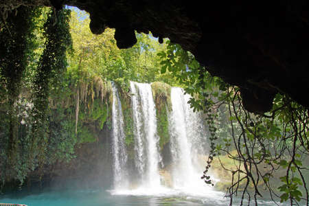 karst: Duden waterfalls carve through karst formations near Antalya,  Turkey   Stock Photo