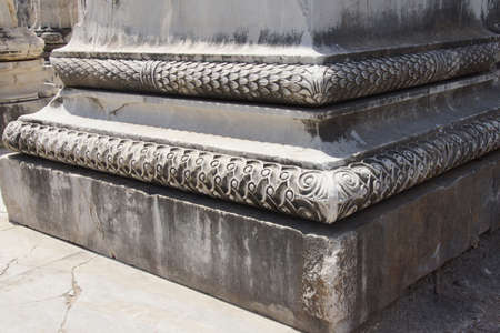 bases: Elaborately decorated bases of the massive columns  of the Apollo temple  at Didyma,  Turkey   Stock Photo