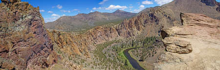 smith rock: Panorama of valley floor of the Crooked River  near Smith Rock State Park, Central Oregon.