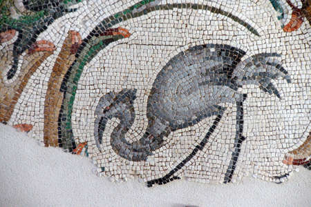 mosaic: Heron grazing in a marsh, , mosaic scene, Great Palace,  in Istanbul, Turkey