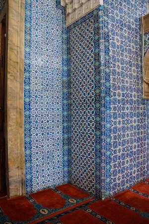 iznik: Iznik tile mosaics decorating the    Rustem Pasha Mosque,  in Istanbul, Turkey Editorial
