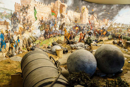 Huge siege cannon used in the final assault and  fall of Constantinople in 1453. Diorama in Askeri Museum, Istanbul,  Turkey