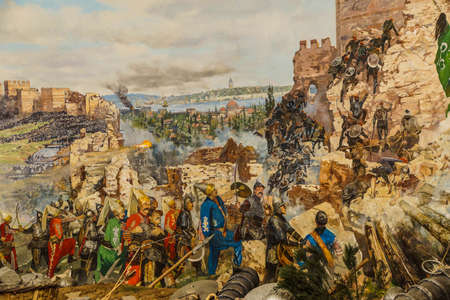 constantinople: Details of the final assault and the fall of Constantinople in 1453.  painting in Askeri Museum, Istanbul,  Turkey