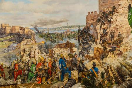 Details van de laatste aanval en de val van Constantinopel in 1453. schilderij in Askeri Museum, Istanbul, Turkije Redactioneel